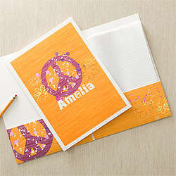 Peace Sign Personalized Kid's Folders