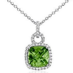 Sterling Silver Peridot and White Sapphire Cushion-Cut Pendant
