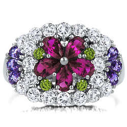 Sterling Silver Multicolor Cubic Zirconia Flower Dome Ring