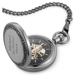 Engravable Gunmetal Pocket Watch