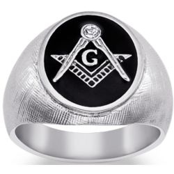 Stainless Steel Masonic Oval Textured Ring with Crystal Accent