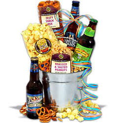 Craft Beer and Gourmet Snacks Gift Bucket