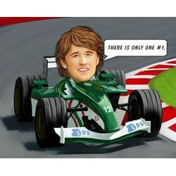 Personalized Race Car Driver Caricature Art Print