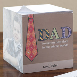 Dad's Personalized Three Photo Note Pad Cube
