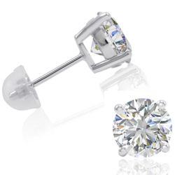 4 Carat Swarovski Zirconia Sterling Silver Stud Earrings