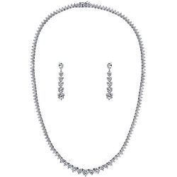 Cubic Zirconia Graduated Necklace and Earrings Set