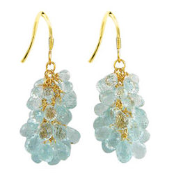 18K Gold Aquamarine Briolette Earrings