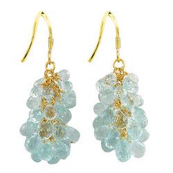 18K Gold Aquamarine Briolette Earrings