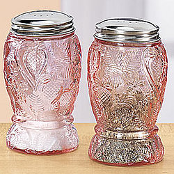 Pink Glass Strawberry Salt & Pepper Shakers