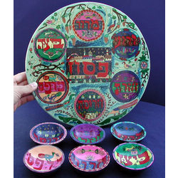 Hand-Painted Passover Plate with Bowls Set