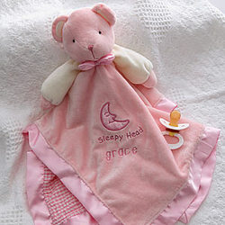 Personalized Teddy Bear Pink Baby Blanket