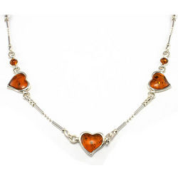 Sterling Silver Cognac Amber Gemstone Necklace