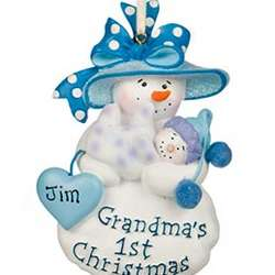 Personalized Grandma's First Boy Christmas Ornament