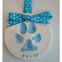 Personalized Dog Paw Print Tile or Ornament