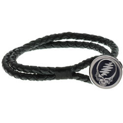 Grateful Dead Steal Your Face Bracelet on Braided Leather Cord