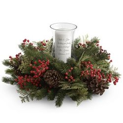 Berry and Pine Cone Personalized Christmas Centerpiece
