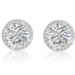6 Carat Swarovski Zirconia Sterling Silver Halo Stud Earrings