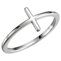 Plain 14-Karat White Gold Cross Ring