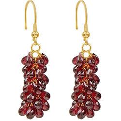 18K Gold Garnet Briolette Earrings