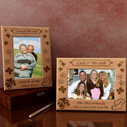 Personalized Luck O' The Irish Wooden Picture Frame