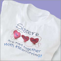 Personalized Sisters Heart Strings T-Shirt
