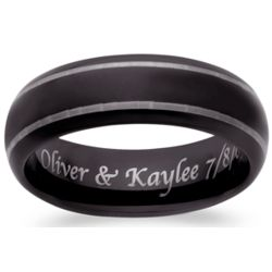 Men's Black Tungsten Lined Engraved Band