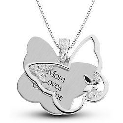 Personalized Silver Butterfly Necklace
