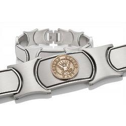 Men's Gold and Stainless Steel US Navy Bracelet