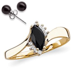 Onyx Marquise and Cubic Zirconia Accent Ring with Onyx Earrings