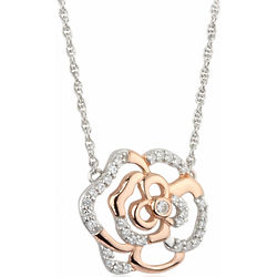 Sterling Silver Irish Rose Two-Tone Necklace
