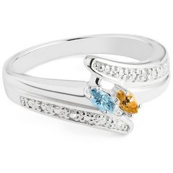 Sterling Marquise Two Birthstone Ring with Diamond Accents