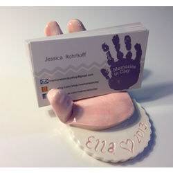 Personalized Ceramic Handprint Business Card Holder