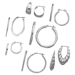 Silvertone Clip On Hoop Earrings Set
