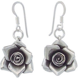 Sweetheart Rose Sterling Silver Dangle Earrings