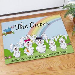 Easter Bunny Family Welcome Doormat