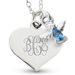 Girl's Personalized March Birthstone Necklace with Filigree Heart