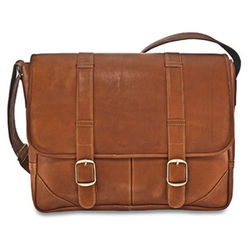 Cafe Leather Laptop Briefcase with Accessory Pouch