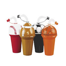 Sports Assortment Cups with Straws Drinkware