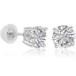 Swarovski Zirconia and Sterling Silver Stud Earrings