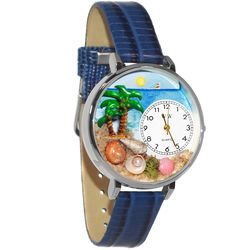 Palm Tree Watch in Large Silver Case