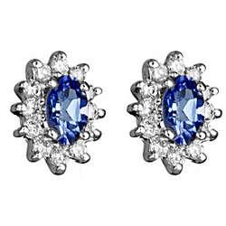 1/4 Ct Diamond & Tanzanite Earrings in 14K Gold