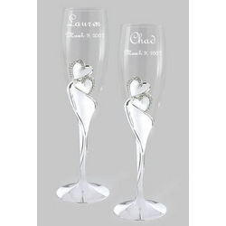 Personalized Wedding Champagne Flutes with Large Crystal Hearts