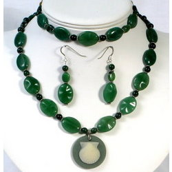 Burma Jade Anniversary Pendant Set with Fossil Coral Centerpiece