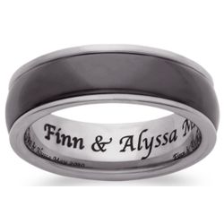 Men's Black Ceramic and Tungsten Engraved Band