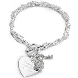 Key To My Heart Silver Plated Toggle Bracelet