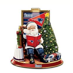 New England Patriots Talking Santa Claus Centerpiece