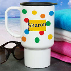 Personalized Polka Dot Travel Mug