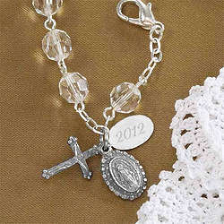 Silver Rosary Crystal Bead Bracelet with Monogram