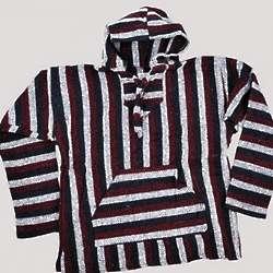 Maroon Stripe Baja Hoodie