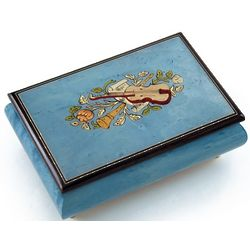 Handcrafted Light Blue Instrument Music Box